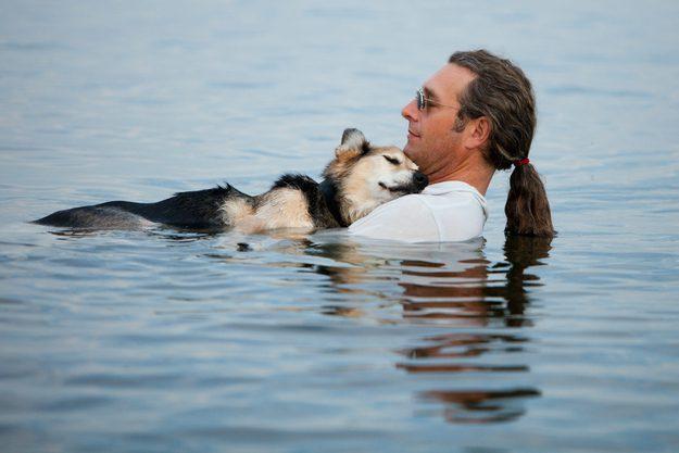 Um cachorro de 19 anos artrítico chamado Schoep é ninado pelo seu dono, John, nas águas do Lago Superior, onde a flutuabilidade apazigua a dor do cão, permitindo que ele durma confortavelmente nos braços do seu dono.
