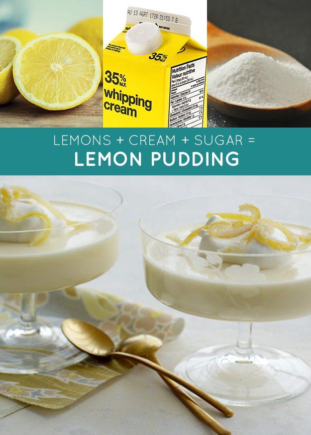 Limões + creme + açúcar = pudim de limão