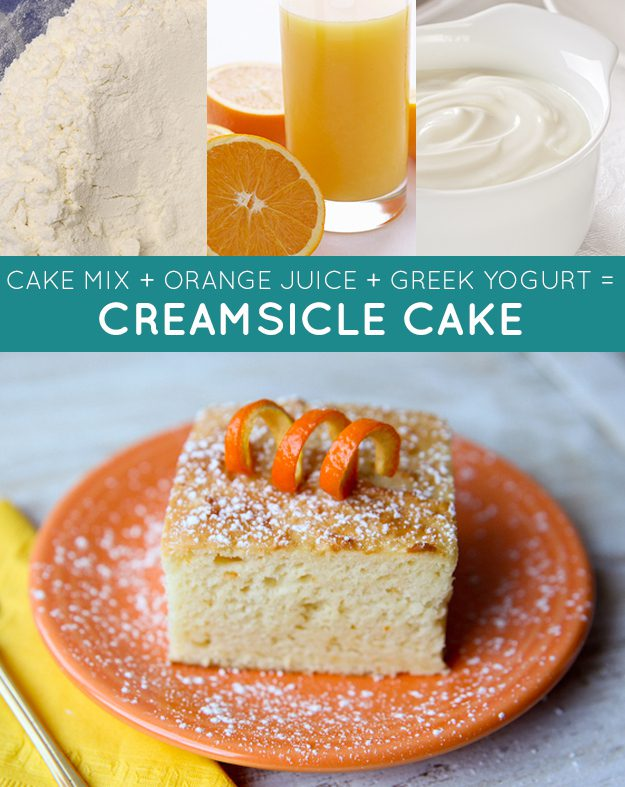 Mistura para bolo + suco de laranja + iogurte grego = bolo cítrico cremoso