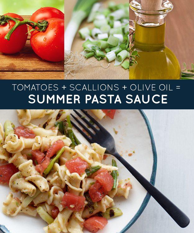 Tomates + cebolinhas + azeite = molho de macarrão para o verão
