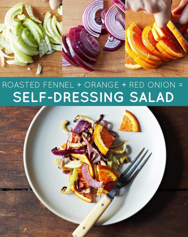 Talos de erva-doce + cebola roxa + laranja = salada de inverno