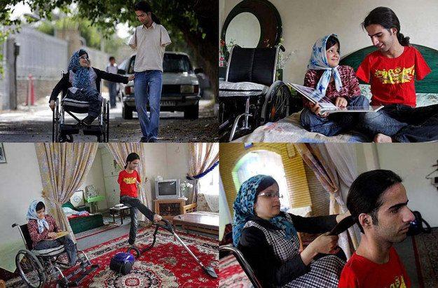 Estas fotos de Ahmad e Fatima, um jovem casal que, apesar de Ahmad não ter braços e Fatima não ter pernas, tomam conta um do outro: