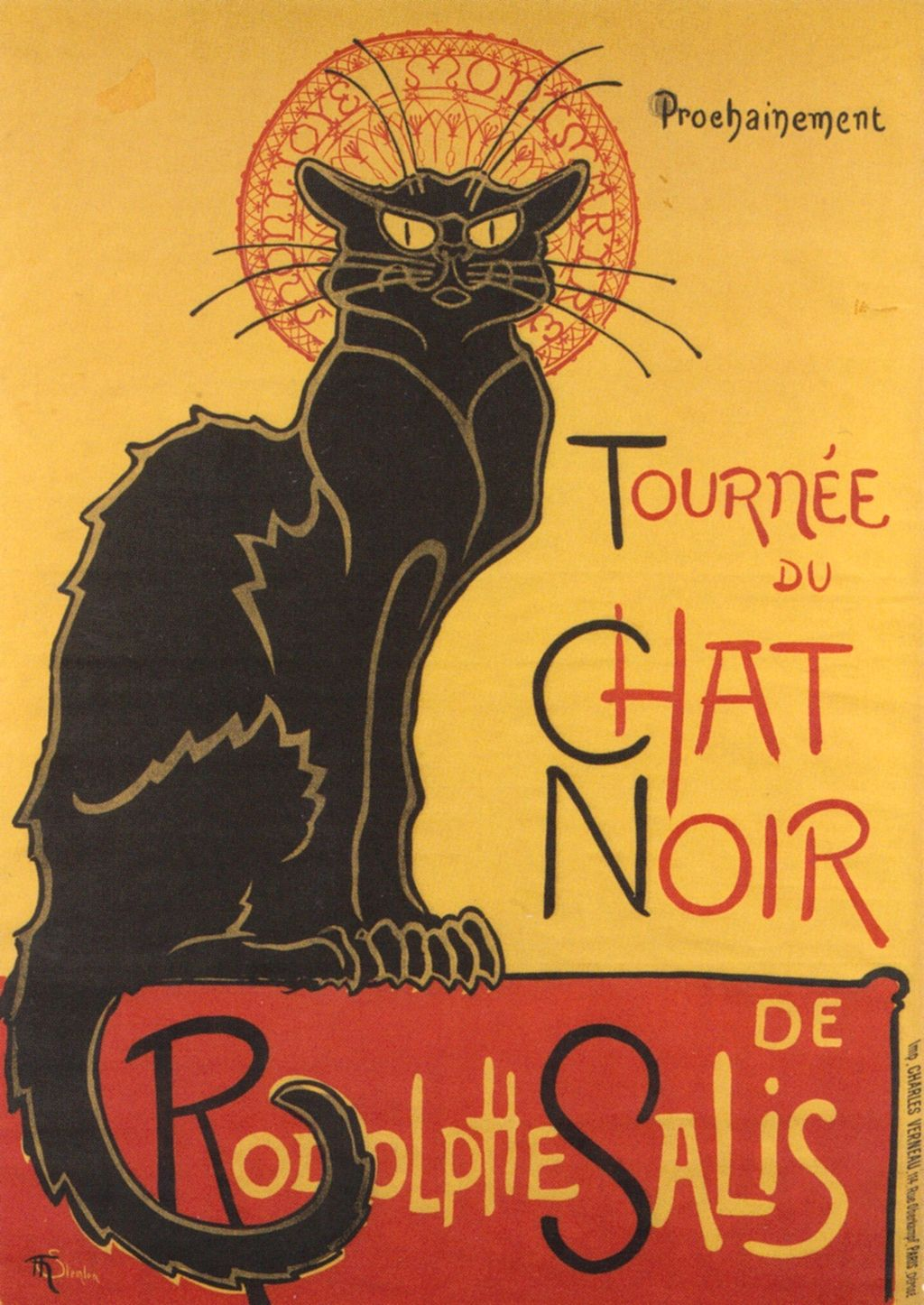 Poster advertising  the approaching tour of the shadow puppets theatre Le Chat Noir (the black cat) of Rodolphe Salis. 1896