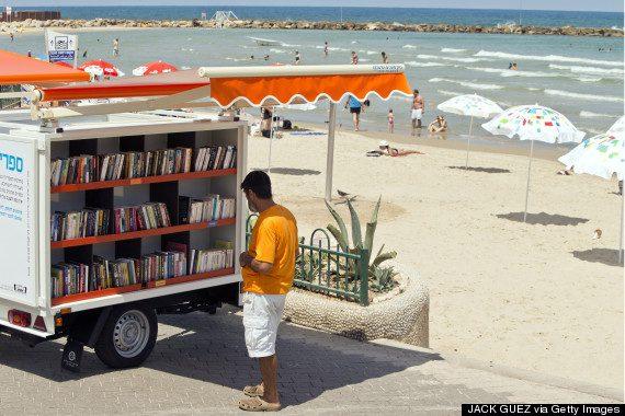 ISRAEL-CULTURE-LIBRARY-BEACH