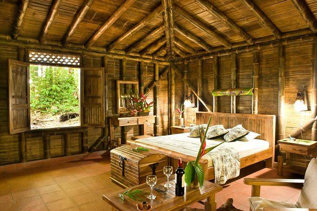 Habitación de cabaña, en guadua