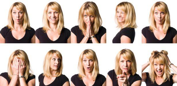 pessoa carismatica excentrica cativante mulher varios rostos varias poses