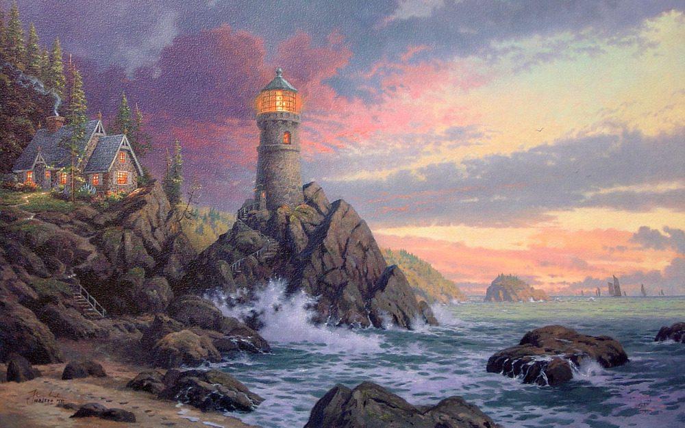Rocha de salvação por Thomas Kinkade da paisagem pintura de arte impressa em lona