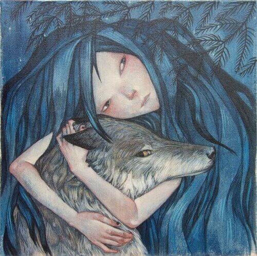 mulher-abraçando-a-cabeça-de-um-lobo