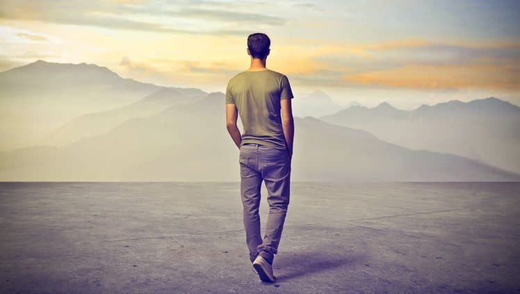 young man walking alone