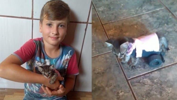 menino de 9 anos faz carrinho para gato