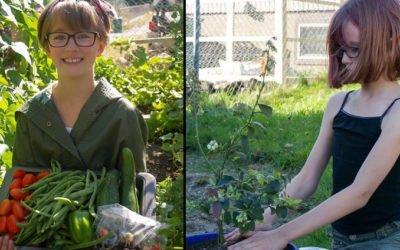garotinha cultiva horta