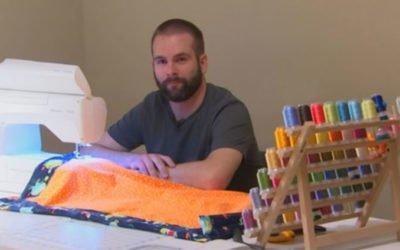 médico costura à mão