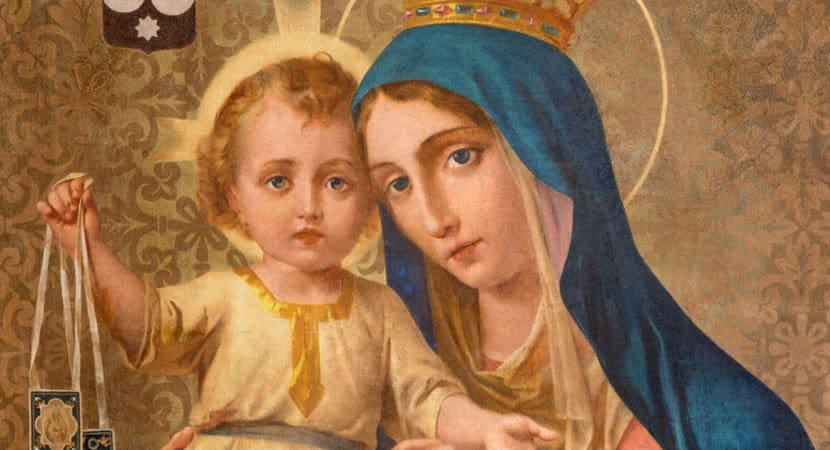 TURIN ITALY MARCH 16 2017 The painting of Our Lady of Mount Carmel in church Chiesa della Madonna del Carmine 123 RF Imagens