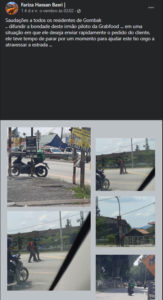 2entregador solidário parou a sua moto para ajudar um senhor cego a atravessar a rua