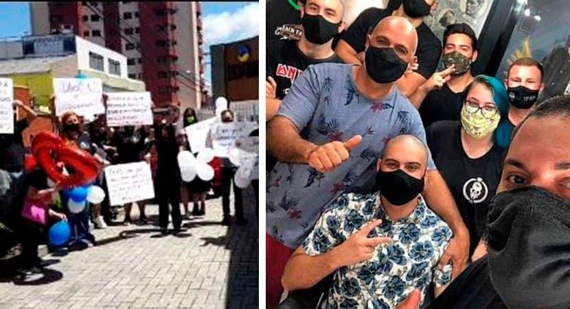 Depois de rasparem cabelo barbeiros buscam amigo com câncer no hospital em sua última quimioterapia