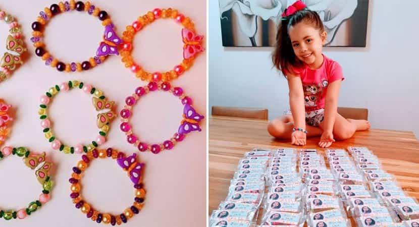 Menina de 6 anos faz pulseiras para alegrar crianças em hospitais e orfanatos