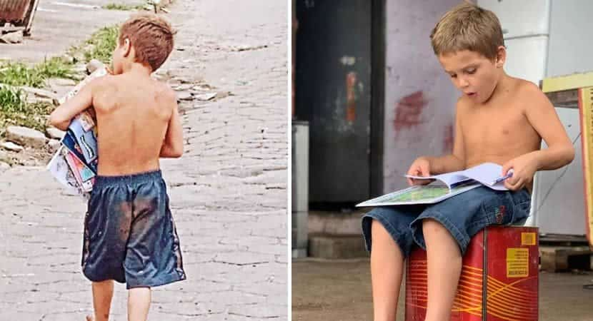 Meu sonho é estudar diz garotinho de 5 anos que catou livros no lixo para ele e os irmãos