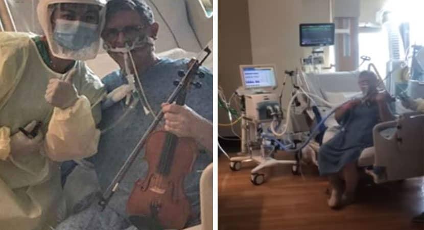 Paciente com covid 19 emociona enfermeiros ao tocar violino em UTI em agradecimento