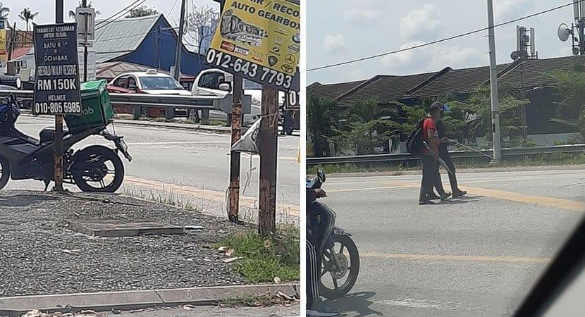 capaentregador solidário parou a sua moto para ajudar um senhor cego a atravessar a ruaok