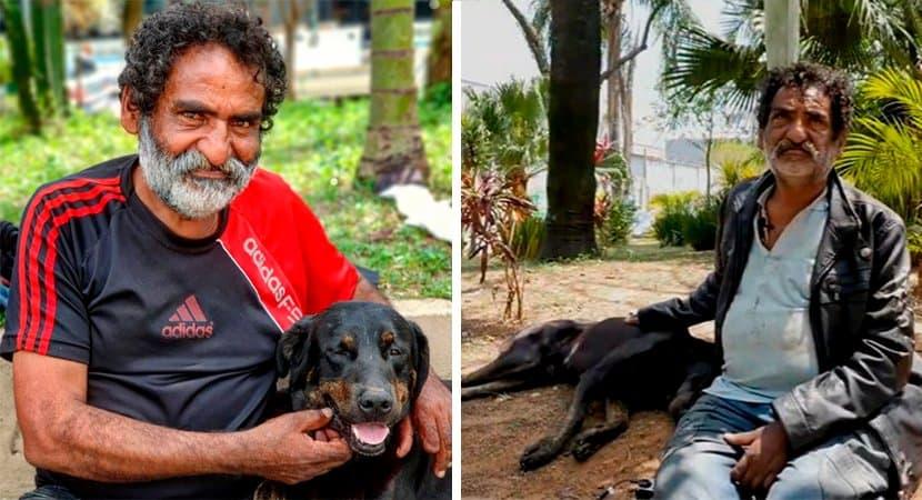 2 Morador de rua usa unico casaco para proteger cachorro do frio Nao desampara o seu melhor amigo