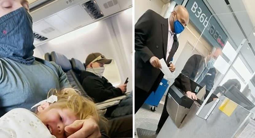 3menina de 2 anos se recusa a usar máscara em avião e família é expulsa de voo