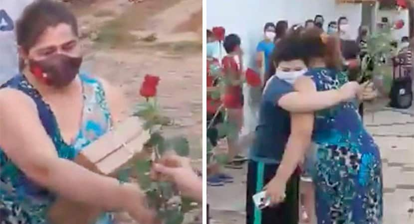 Alunos levam rosas para professora que não desistiu de ensiná los mesmo à distância