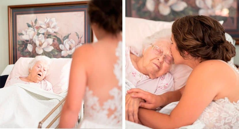 Neta se veste de noiva para avó doente que não iria poder ir em seu casamento
