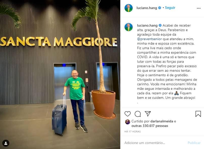 2 Apos fazer live afirmando estar bem e assintomatico Luciano Hang recebe alta do hospital