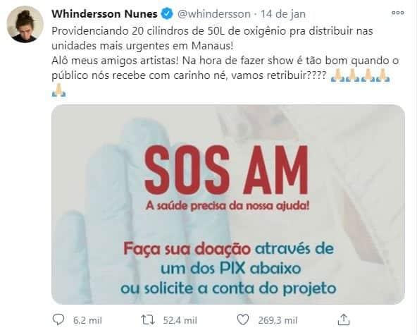 2 Whindersson Nunes Simone Tata Werneck e outros artistas se mobilizam para ajudar Manaus