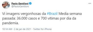 2comissário da União Europeia classifica situação do Brasil na pandemia como vergonhosa
