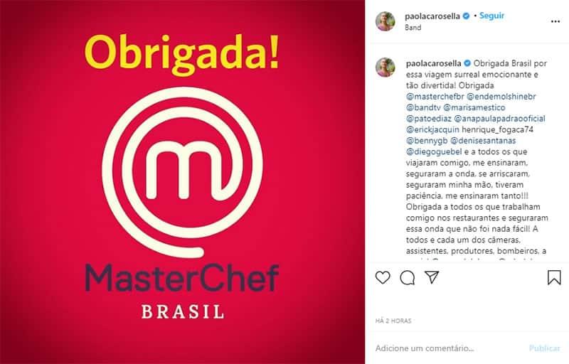 2paola Carosella anuncia saida da Band Muita honra de ter participado do MasterChef