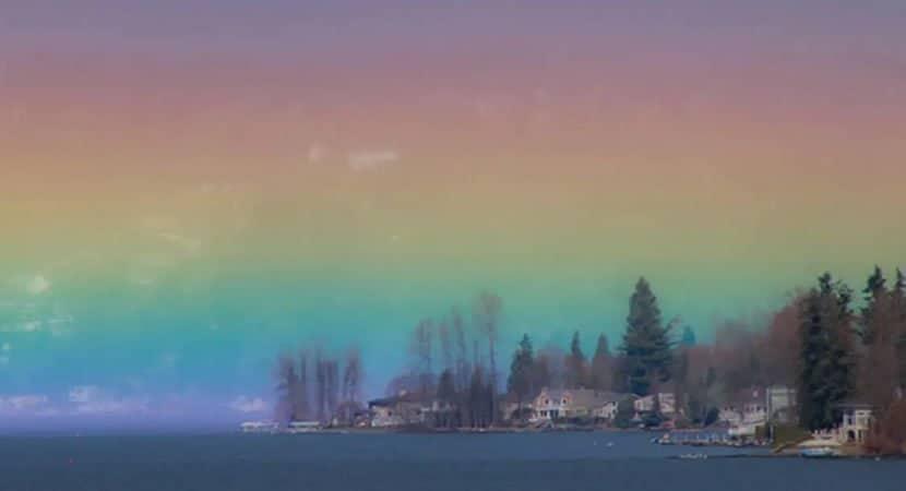 arco iris horizontal preenche o ceu e e registrado por fotografa Lembrete de que Deus esta no controle