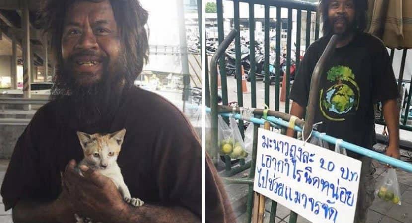 capaMorador de rua vende limao para alimentar gatos sem lar Seu coracao e maior do que suas dificuldades