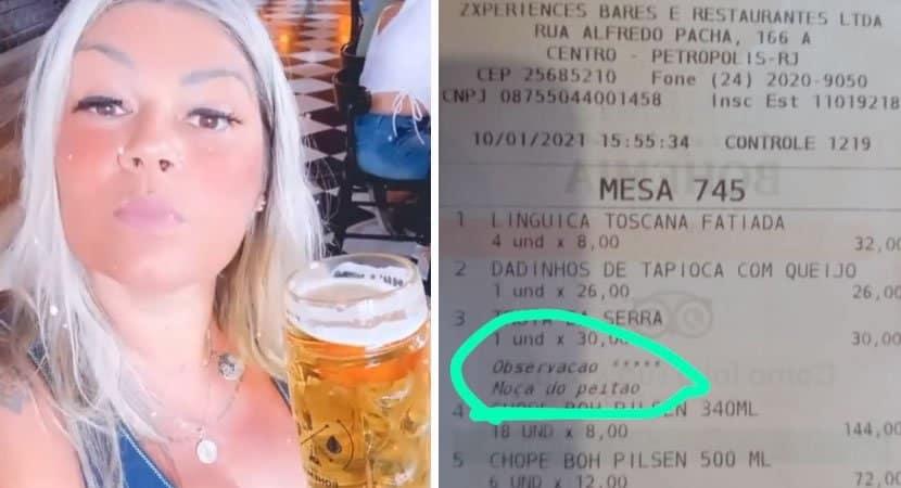 mulher processa bar ao receber comanda com comentario obsceno Moca do peitao