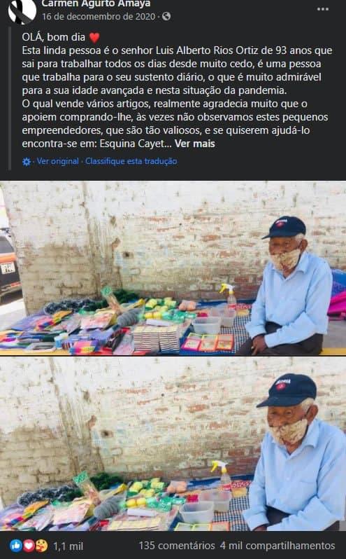 2jovem compra toda a mercadoria de vovo de 93 anos que trabalha nas ruas O enxergou com amor