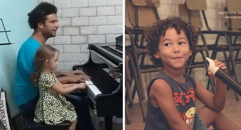 2sonho realizado Zeca Pagodinho se orgulha de instituto que oferece aulas de musica para criancas
