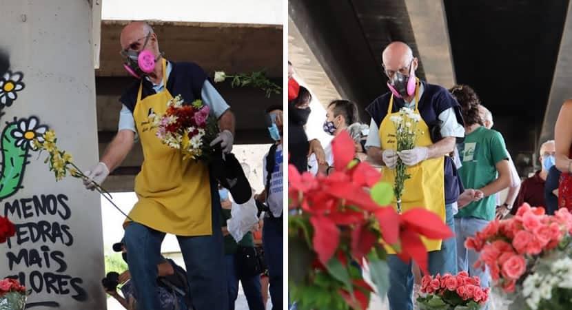 Padre Julio Lancellotti coloca flores onde antes tinha pedras para afastar pessoas em situacao de rua