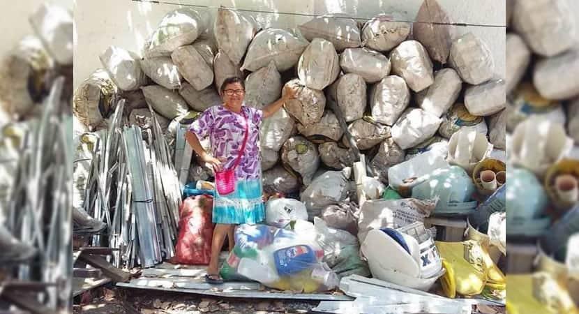 capamae junta mais de 300 kg de material reciclavel e realiza sonho de filho de estudar na Finlandia