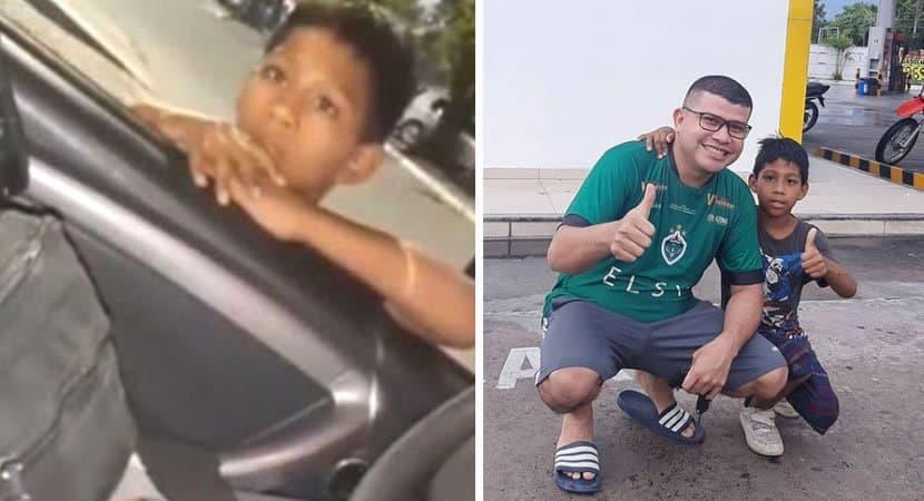 capamenino venezuelano pede comida a policiais brasileiros e o resultado e emocionante