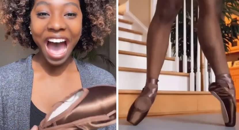 pela primeira vez bailarina ve sapatilhas da cor de sua pele e se emociona Revolucionario