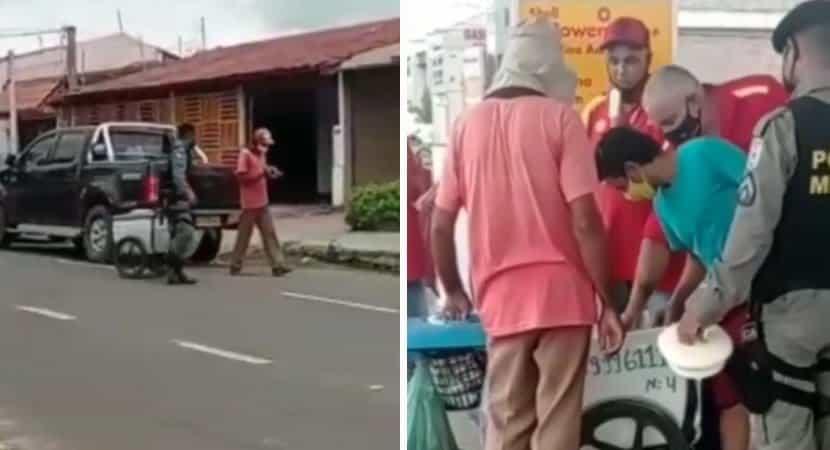policial ve vendedor de picole chorando pela falta de clientes e bate de porta em porta para ajuda lo