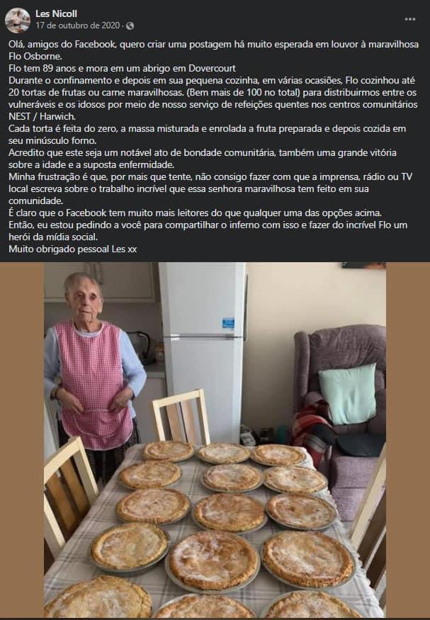 2senhora de 89 anos cozinha tortas para pessoas necessitadas durante pandemia Muito generosa