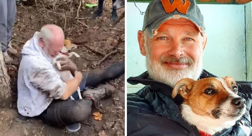 3 capa Homem cai em lagrimas ao reencontrar sua cadelinha desaparecida ha 3 dias que estava presa em buraco