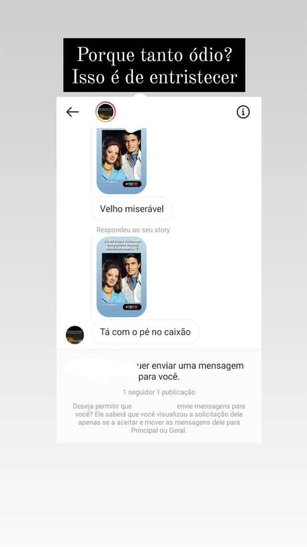 3e de entristecer lamenta Tarcisio Meira sobre ofensa recebida nas redes sociais