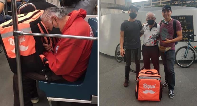 capaidoso de 85 anos que faz entregas a pe e fotografado dormindo apos dia cansativo de trabalho