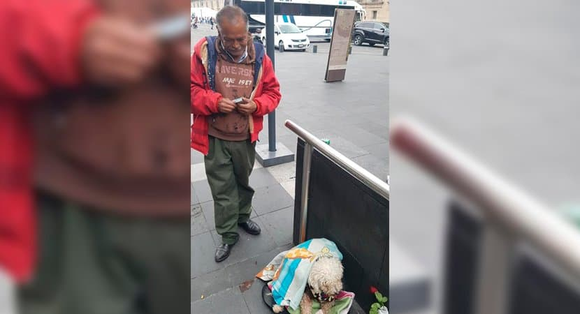 capaidoso vende chicletes na rua todos os dias para alimentar o seu cao Zela por seu melhor amigo