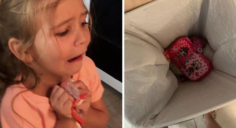 capamenina joga estojo de escola no lixo e mae a faz ir para a escola com materiais em saquinho plastico