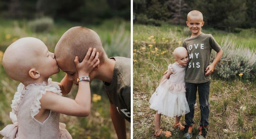 capamenino raspa a cabeca para apoiar a irma de 3 anos com cancer e ela vence a doenca