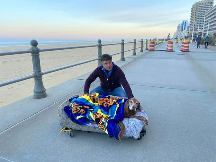 1 2 Casal constroi cama especial para cadelinha idosa ver o mar pela ultima vez Despedida emocionante