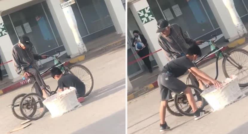 a beleza esta na simplicidade video de menino ajudando idoso que vende pao em bicicleta encanta